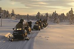 Snowmobiles driving on snow